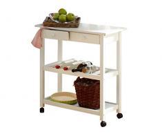 LifeStyleDesign 390113 Alaska, Carrello da cucina 87 x 40 x 80 cm, in gomma/ MDF, piedi in legno massello, Bianco (Weiß)