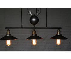 Coquimbo Retrò Lampadario A Sospensione Luce Della Lampada Regolabile 3 Luce Soffitta Vintage Lampadari Lampade E27 per cucina, ristorante, caffè, bar decorazione (lampadina non inclusa)