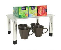 UPP Mensola aggiuntiva impilabile & espandibile per Cucina e Bagno – Come scaffale angolare o ripiano, Plastica, Argento, Rechteck-Regal 33x25x16,5cm