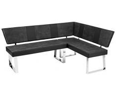 AVANTI TRENDSTORE - Baresi - Panca ad angolo da cucina in similpelle. Telaio cromato. Compatta e resistente. Dimensioni: LAP 143x85x188 cm