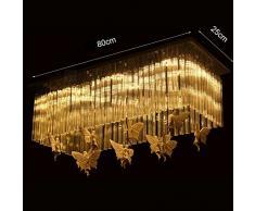 $illuminazione Lampadari a rettangolare per ristorante, LED Lampadari per sala da pranzo Lampade creative Angel Butterfly Decoration Moderno Semplice luci interne ( Colore : Luce bianca-80*25cm )