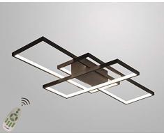 Plafoniera a LED Soggiorno Dimmerabile Soffitto Lamp Moderno Rettangolo Quadrato Designer Lampada a Sospensione con telecomando Cucina acrilica Sala da pranzo Ufficio scala Soggiorno 65W Lampadari