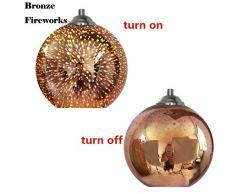 Lampade a sospensione minimaliste di arte del lampadario di vetro del paralume creativo moderno multicolore 3D (Style B)