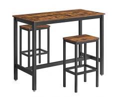 VASAGLE Set di Tavolo da Bar con 2 Sgabelli da Bar, Set di Sedie da Pranzo con Tavolino, per Cucina, Soggiorno, Stanza da Festa, in Stile Industriale, Marrone Vintage LBT15X