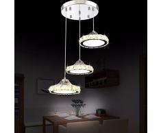 Led luci Ristorante Ristorante Crystal lampadari tre moderni rotondo semplice soggiorno sala da pranzo tavolo Bar Tavolo da pranzo lampadario, bianco