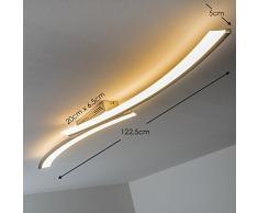 Plafoniera LED Orgia con 24 Watt e 1320 Lumen totali - Lampadario Lineare Elegante in Metallo Color Acciaio - Lampada da Soffitto Moderna 120 cm per Cucina Soggiorno Camera da Letto Studio