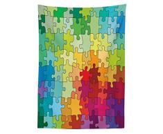 ABAKUHAUS Astratto Tovaglia, Pezzi Colorati di Puzzle Frattale Bambini Hobby Attivita' Tempo Libero Giocattoli, Facile da Pulire con la Tecnologia all'avanguardia, Lavabile, 140 x 240 cm, Multicolore