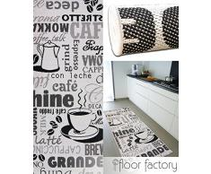 floor factory Tappeto cucina Cappuccino bianco e nero 80x200 cm - passatoia cucina a buon mercato