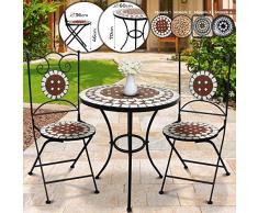 Jago Set da Giardino Mosaico - Tavolo Rotondo o Quadrato + 2 sedie Pieghevoli (Altezza Seduta 46 cm) - Mobili da Esterno, da Balcone