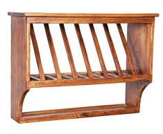 Piattaia Country in legno massello di tiglio finitura noce 80x28x60 cm