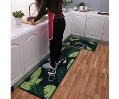 Insun Tappetini da Cucina Tappeti Antiscivolo Tappeto Anti Fatica da Cucina Lavabile Piante Tropicali Verde 40x120cm