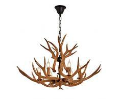 Antlers Lampadari corno di cervo Lampadari,6 luci, per soggiorno, bar, ristorante, sala da pranzo cervi lampadari in corno,Marrone