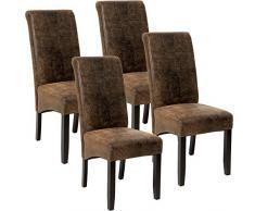 TecTake Set 4X Design Sedia per Sala Cucina da Pranzo Sedie Altezza 106 cm - Disponibile in Diversi Colori - (Marrone Antico | No. 403500)