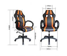 VINGO® Poltrona direzionale arancio-grigio Sedia da ufficio con braccioli imbottiti Sedia girevole in PU portata 200kg Ergonomia