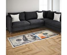 wunderlin Euro, dolllar Banknote - Tappeto da cucina lavabile, passatoia per tappeti, tappeto da cucina, moderno antiscivolo (dolllar Läufer, 55 x 134 cm)