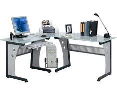 yelloo SCRIVANIA Tavolo Ufficio POSTAZIONE Poltrona Design ANGOLARE Vetro MOD. Office