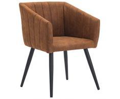 Sedia da sala da pranzo in tessuto (velluto) design retro con piedini in metallo sedia imbottita poltrona vintage selezione colore Duhome 8065, colore:marrone arancio, materiale:tessuto effetto cuoio