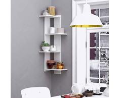 GJWL Decorazione Domestica Decorazione della Parete Scaffale, 4 Strati a Parete ad Angolo Floating Bookshelf Bagagli Shelf Vetrinetta (Color : White)