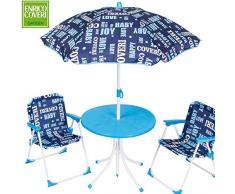 Enrico Coveri Collection Set da Giardino per Bambini Composto da Tavolino, Ombrellone e 2 sedie Pieghevoli - Colore: BLU