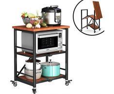 Carrello dellisola della cucina a 3 livelli,carrello industriale pieghevole distoccaggio del supporto del forno a microonde,conle ruote di bloccaggio,carrello del servizio dellhotel del ristorante