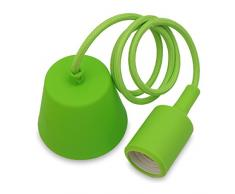 Lampadario a Sospensione Lampade a Sospensione Silicone Verde Moderni con Portalampada E27 Lunghezza Totale 104CM di Enuotek