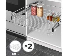 Jago Cassetto Estraibile per Cucina - Set da 2, per 60cm, con Ripiano, per Armadio, Max. 20 kg, 56x44x14 cm, Metallo Cromato - Cestello da Cucina, Cassetto Telescopico