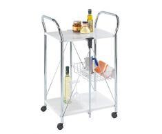 WENKO Carrello cucina e portavivande Sunny bianco - pieghevole, Metallo verniciato, 56.5 x 90.5 x 44 cm, Bianco