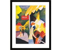 """Quadro con cornice: August Macke """"La vetrina della modista"""" - stampa artistica decorativa, cornice di alta qualità, 40x50 cm, nero / angolo grigio"""
