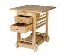 WODEGA Teak legno Tee carrello – Carrello portavivande massiccio con tavolo da taglio, cassetti e porta bottiglie