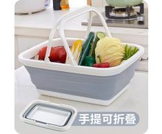 Little Less Pieghevole carrello carrello cucina cesto storage bagno doccia cestino snack detriti cesto storage bianco + grigio