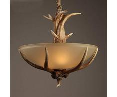 ● Lampadario del tavolo da pranzo della resina nostalgica dell'oggetto d'antiquariato antico LOFT del retro lampadario con ombra di vetro ●