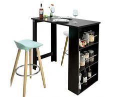 SoBuy® Tavolo alto da bar moderni,Bancone stile bar,Tavolo cucina,nero, FWT17-SCH,IT