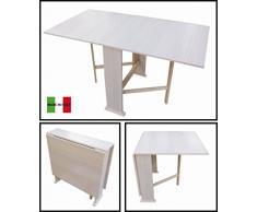 Tavolo in Legno Richiudibile Pieghevole Rovere Sbiancato mod. Susanna 140x75x78 cm