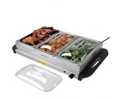Jago Scaldavivande Elettrico per Buffet - Temperatura Regolabile 45-85°C, Acciaio Inossidabile, Coperchio Trasparente, Modello a Scelta - Chafing Dish, Buffet Server, Food Warmer (Set di 1, 3x2.5L)
