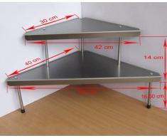 Scaffale da cucina d'angolo, triangolare, 2 ripiani in acciaio inox