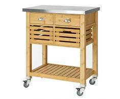 SoBuy® Carrello di servizio,Carrellino salvaspazio,Scaffale da cucina,Mensola angolare,in bambù, FKW40-N, IT