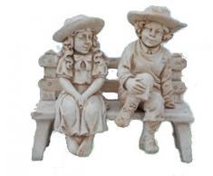 Statua Panchina con 2 Bambini - H cm 70