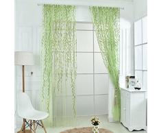 2 pz 100 x 270cm Willow Leaf Stile Tulle Voile Tenda Finestra Garza Pannello Drappeggio Tenda Della Porta Finestra Verdee