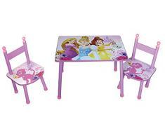 FUN HOUSE - Set per Bambini, munito di tavolino e Due sedie, Motivo con Principesse Disney, Prodotto Realizzato in MDF, Dimensioni di 60 x 40 x 44 cm, di Colore Rosa, RIF. 712584