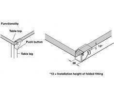 1 Coppia – GedoTec maniglia pieghevole di Consolle klappen Beschlag pieghevole per gambe del tavolo e panche   in acciaio zincato   per tavolo Piedi 38 X 38 mm   Marchio di qualità per la vostra casa