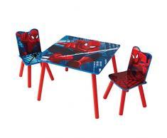 HelloHome 527SDR Spider Man Tavolo per Bambini con Sedie, Legno, Multicolored, 63 x 63 x 52.5 cm