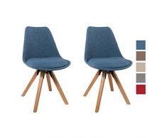 Set di 2 Sedia da sala da pranzo in tessuto azzurro blu design retro stil scandinavo con piedini in legno cucina vintage selezione colore Duhome 518EM