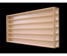 E13AL Elemento Vetrina parte sinistra (aperta a destra) con scanalature per modellismo scala H0 e N in legno di betulla, con 2 vetri di plexiglas, Dimensioni 100 x 58 x 10,5 cm, vetrinetta, bacheca