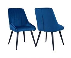 Duhome 2X Sedia da Sala da Pranzo in Tessuto (Velluto) Blu Azzurro Sedia Imbottita Design Retro con Piedini in Metallo Vintage Selezione Colore 8066