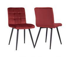 Duhome 2X Sedia da Sala da Pranzo in Tessuto (Velluto) Rosso Sedia Imbottita Design Retro con Piedini in Metallo Vintage Selezione Colore 8043B
