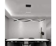 LED Lampada a sospensione Dimmerabile con telecomando Luce pendente Moderno Creativo Spirale Design Lampadario per Isola della cucina Bar Sala da pranzo Tavolo da pranzo Salotto Ufficio (Nero, L120CM)
