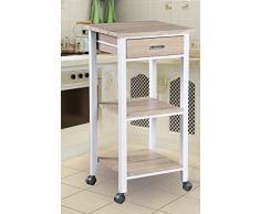 Spetebo - Carrello da cucina con rotelle, cassetto e 2 ripiani, effetto rovere