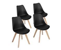 Set di 4 Tulip pranzo / Ufficio Sedia con gambe in faggio massiccio, Eggree(TM) Sedie senza braccia imbottita di design per il massimo comfort - Nero