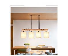DHG Il ristorante illumina tre lampadari, la sala da pranzo con personalità creativa in legno nordico e luci a led, con semplici e moderne luci in legno,Beige,4 teste