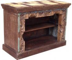 Guru-Shop Mensola Credenza Antica Colorato con Intagli, 60x85,5x37 cm, Cassettiere e Credenze